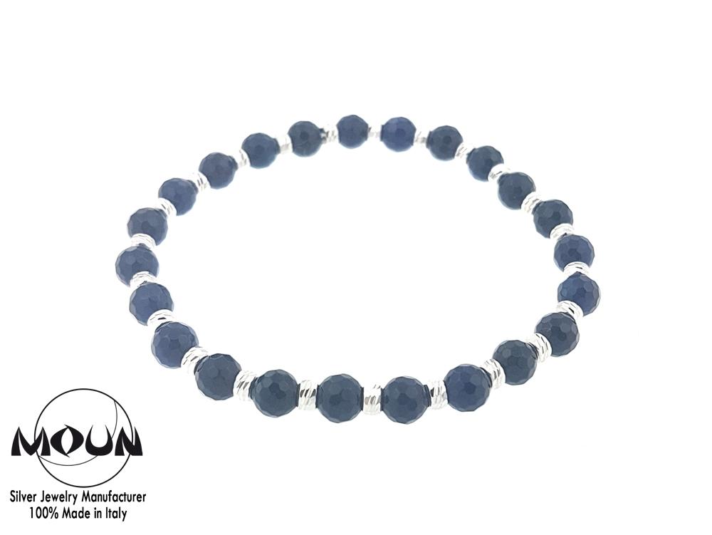 spesso Bracciale elastico con perline blu notte   Made in Italy - Moun  DK56