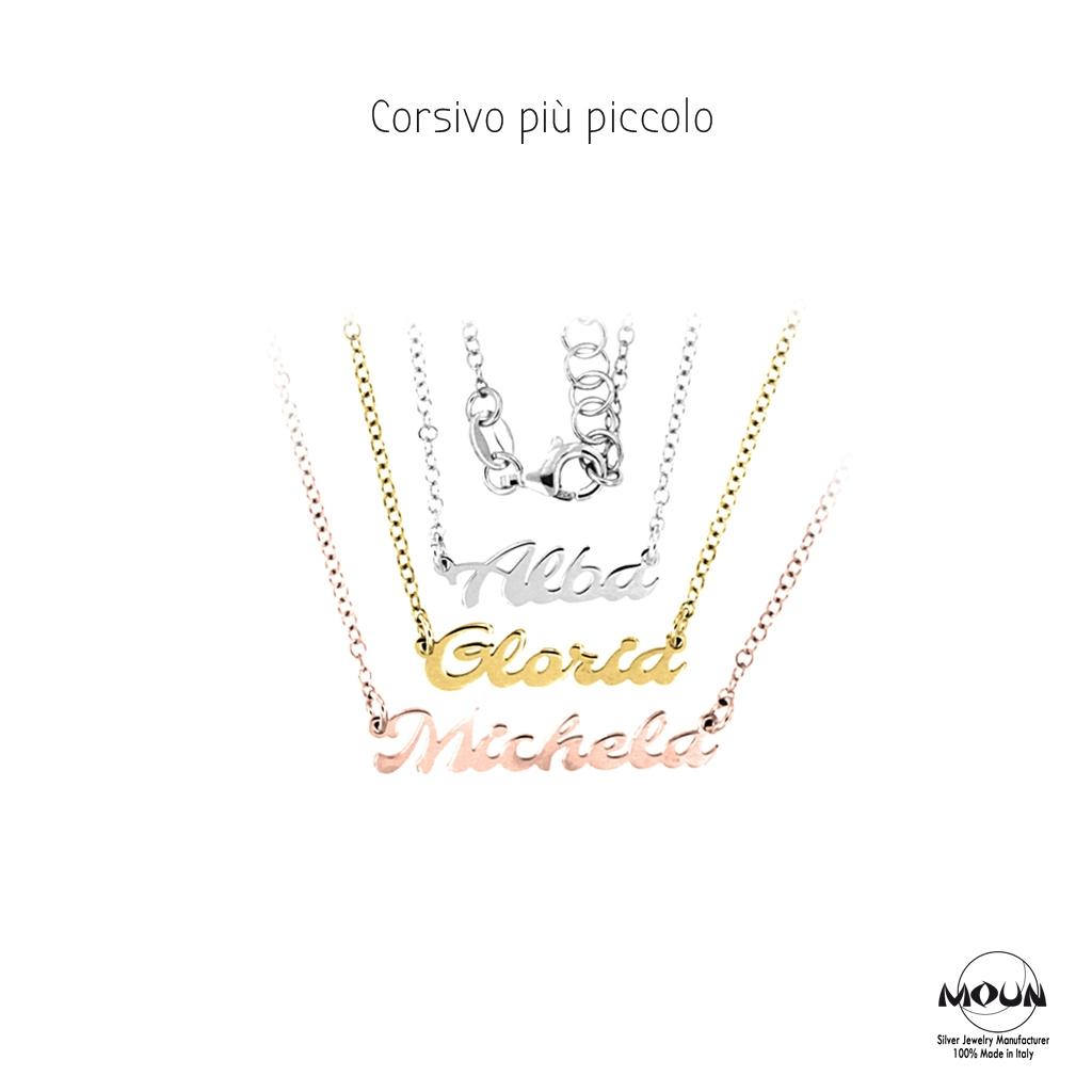 super popolare 32c92 bb4a2 Collana con nome in corsivo   Argento 925   Made in Italy ...