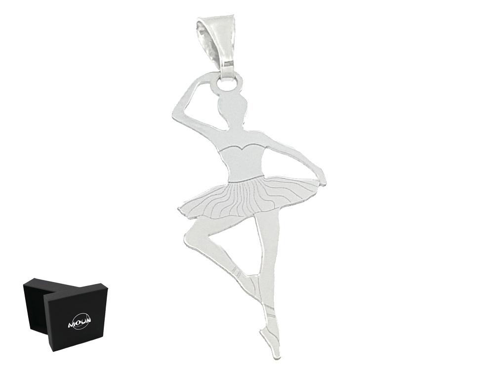 2b11b5def1 Ciondolino a forma di Ballerina con tutù, in argento 925 rodiato. Scatolina  Moun in omaggio pronto per essere regalato.