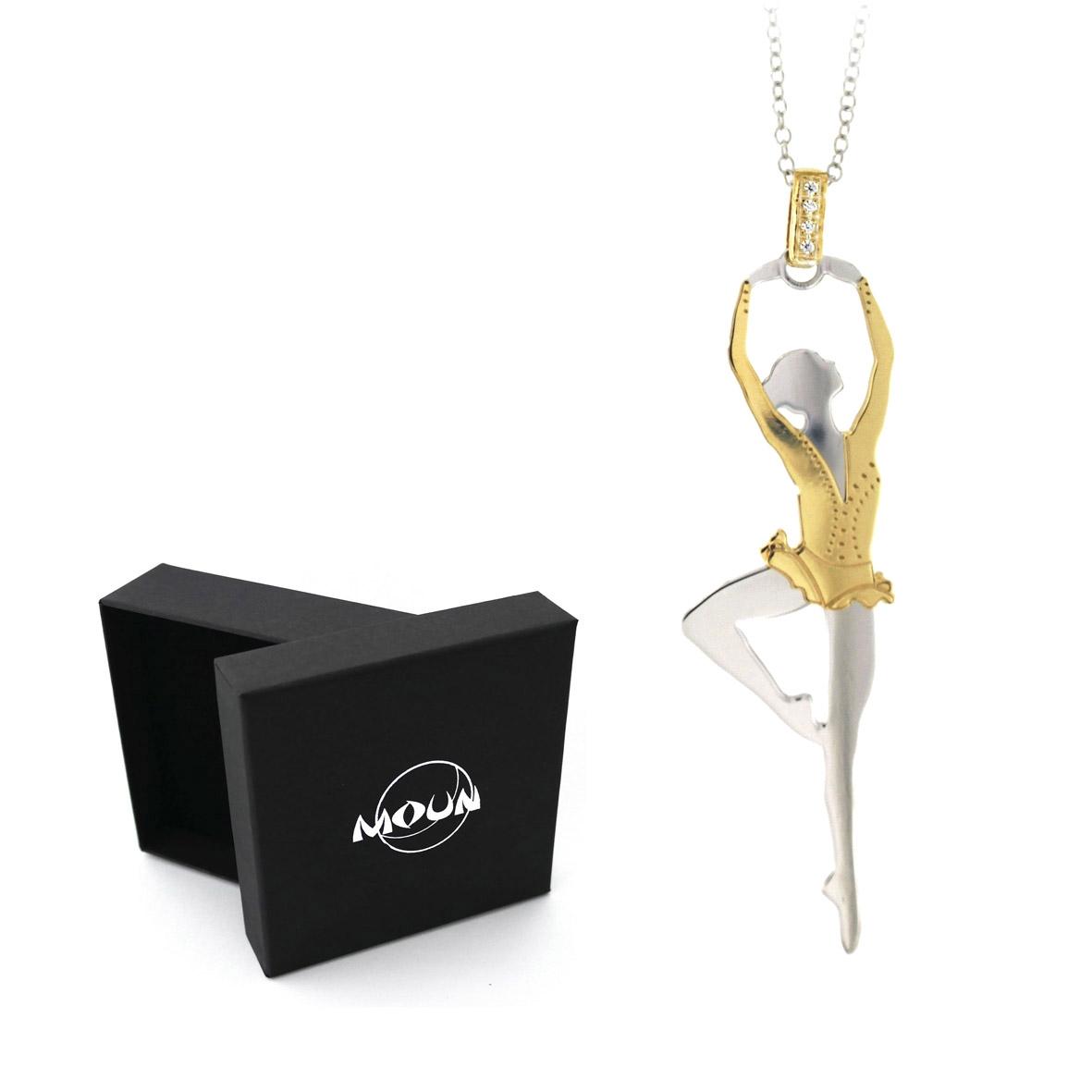 7de18fce80 Collana con pendente ballerina in argento 925 rodiato con applicazioni in  argento placcato oro.