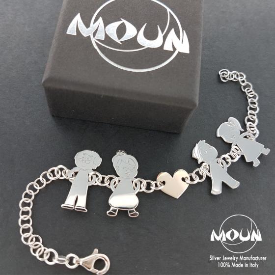 design di qualità 0e7f5 51819 Bracciale Famiglia personalizzato | Argento 925 | Moun.it ...