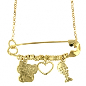 Collana con spilla da balia e charm kitty