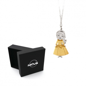 Collana con pendente Principessina in argento 925 rodiato e placcato oro. Originale MOUN.